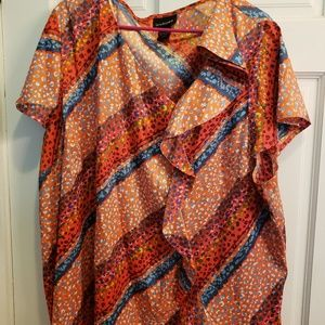 Lane bryant size 26/28 orange ruffled blouse